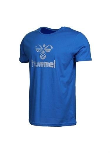 Hummel Hummel Erkek Mavi Bisiklet Yaka T-Shirt Mavi